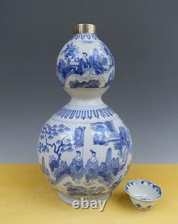Antique Large Superb Dutch Delft Double-Gourd Vase + Silver Chinese Transition