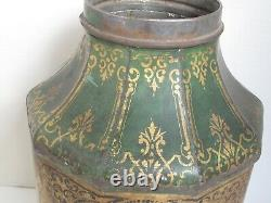Antique Large Tole Chinese Tea Canister Green, Gold and Black c. 1880's