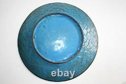 Antique Oriental Chinese Bronze Cloisonne Carved Painted Large Plate