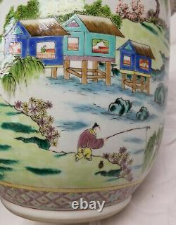 Antique Vintage Chinese Large Garden Planter Jardiniere Enamel Landscape