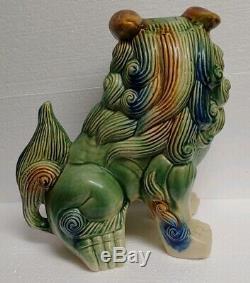 Antique/Vintage Chinese Large Glazed Ceramic Foo Dog Fu 12 inches