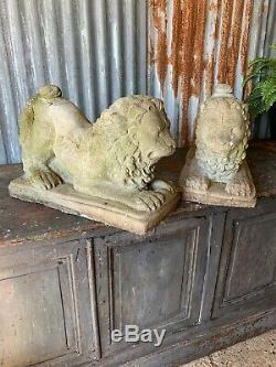 Antique Vintage Garden Stone PAIR Lion Statue Large Weathered Foo Fu Dog Chinese