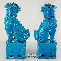 Antique Vintage Pair of Chinese Turquoise Blue Glazed Large Foo Dog Pair Figures