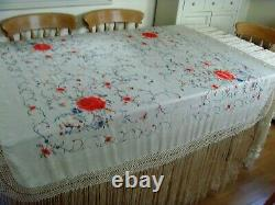 Antique / Vintege Chinese Large Hand Embroidered Double Sided Silk Piano Shawl