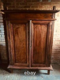 Antique asian cupboard cabinet, large wooden cupboard, rustic wooden wardrobe