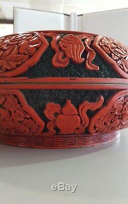 Antique chinese carved cinnabar large presentation box