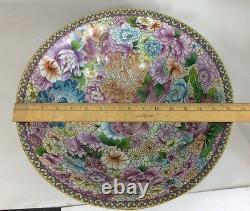 Antique large cloisonne bowl 15x4.5 floral blossom
