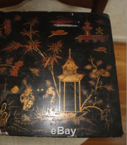 BOX ANTIQUE CHINOISERIE Large c1840 Japanned Black Lacquer BOX 13x8x9