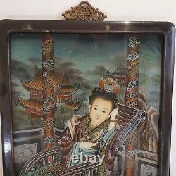 Beautiful Large Chinese 19th-20th C Canton Export Reverse Glass Painting