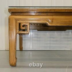 Beautiful Large Square Chinese Teak Coffee Table With Glass Top & Hoof Feet