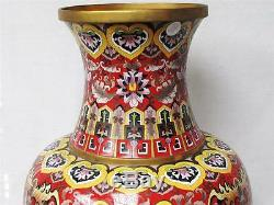 Beautiful Vintage Extra Large Chinese Cloisonne Vase, 2.6 Feet Tall, Hand Done