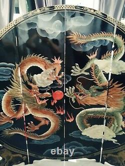 Black Lacquer Chinese Carved Screen Room Divider With Dragons heavy and large