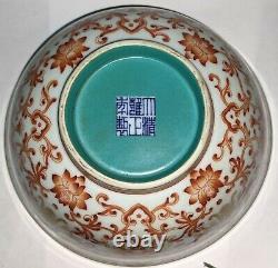 C19th large chinese bowl iron red hand painted lotus flowers yongzheng mark