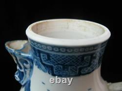 CHINESE Export Porcelain Large Antique CANTON Blue White Double Handle Pitcher