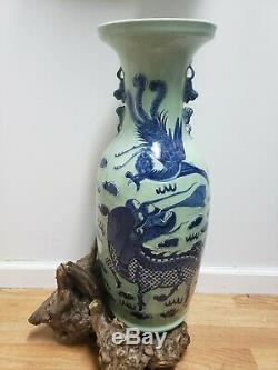 CHINESE LARGE PORCELAIN BLUE AND WHITE VASE Dragon &Phoenix Design