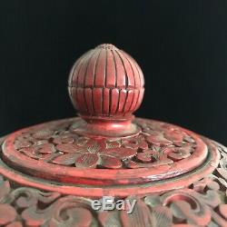 Chinese Cinnabar Vase 19th Century Red Lacquer Hand Carved Large Urn 12 Tall