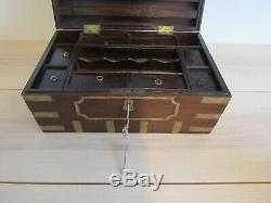 Chinese Export Camphor Wood Sailor's Large Brass-Bound Campaign Chest Box 18x11