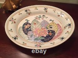 Chinese Export Tobacco Leaf Large Tureen 3 pc Set
