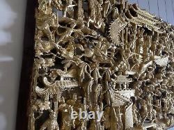 Chinese Large Old Carve And Gilt Warriors Battle Scene Panel 52 Inches