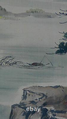 Chinese Large Watercolor Painting On Silk Signed Kim'66landscape Scene, Framed