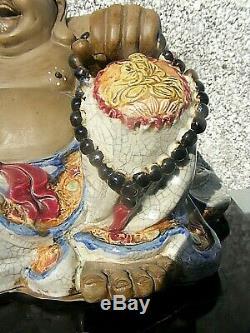 Chinese Laughing Buddha Shiwan Crackle Glaze Large