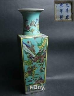 Chinese Old KANGXI MARK Large Vase / H 48cm Qing Ming Dish Plate Pot Jar