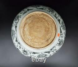 Chinese Rare Yuan To Ming Dynasty Blue White Large Heavy Charger Plate 49 CM