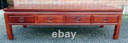 Chinese Republic Period antique solid rosewood large 4 drawer coffee side table