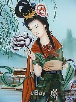 Chinese Reverse Painted Glass Panel Picture Large