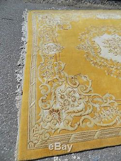 Chinese, large, wool, floral, carpet, 9' x12', room size, large rug, vintage, yellow