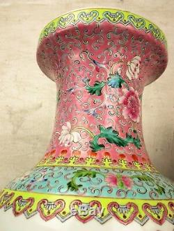 Couple Fine Quality Large Chinese Republic Famille Rose Vases Birds Peacock 24