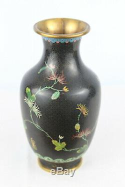 EXCELLENT QUALITY LARGE CHINESE CLOISONNE VASE With PEONY FLOWERS 9 Tall