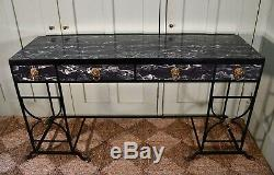 Elegant Large Mid 20th C Regency Style Faux Marble Iron Side Console Hall Table