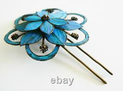 Extra LARGE Qing Dynasty Kingfisher feather Hair Pin Chinese Floral Tian-tsui