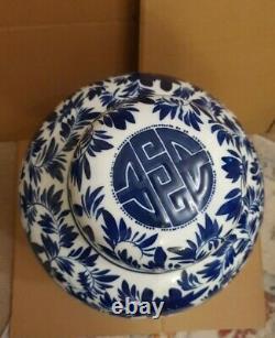 Extra Large Blue & White Signed Ginger Jar & Chinese Hardwood Stand 21 tall