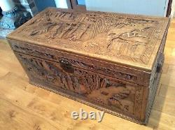 Extra large Chinese Camphor Wood Chest / Blanket Box with profuse carvings