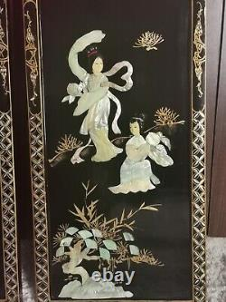 Four Large Mid Century Chinese Laquer & Mother of Pearl Wall Panels Hangings