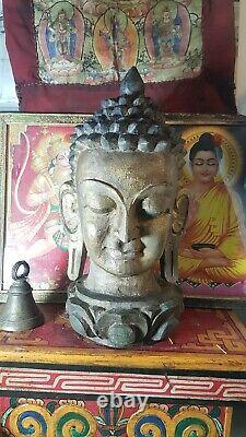 Gold large vintage nepali Wood Carved Buddha Head