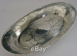 LARGE 13 INCH CHINESE EXPORT SOLID SILVER BOWL c1910 ANTIQUE 458g