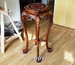 LARGE 31.9 Old Chinese Hardwood Art Deco Stand with Oriental mother of pearl