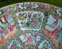 LARGE 37cm ANTIQUE 19thC CHINESE CANTON FAMILLE ROSE PUNCH BOWL