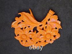 LARGE ANTIQUE CHINESE CARVED NATURAL CORAL PENDANT With FLOWERS & LEAVES