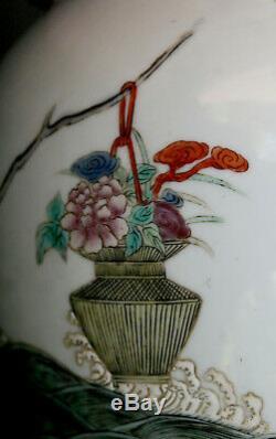 LARGE ANTIQUE CHINESE PORCELAIN VASE IMMORTALS Famille rose