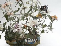 LARGE ANTIQUE QING CHINESE CLOISONNE PLANTER WITH JADE FLOWER TREE 20x17 H max