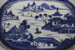 LARGE Antique 19th Century Chinese Export CANTON Blue 13.5 Oval Serving Bowl 4
