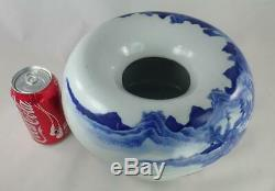 LARGE Antique Chinese 19th c. Blue White Porcelain Landscape Brush Washer Qing