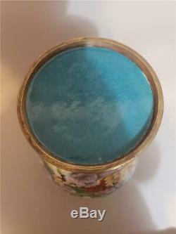 LARGE Antique Chinese Export Cloisonne Vase Vintage Floral Art