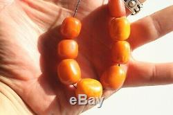 LARGE Antique Natural Egg Yolk Chinese Amber Baltic Amber Beads Bead 20.55g