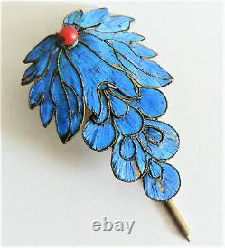 LARGE Qing Dynasty Kingfisher feather Hair Pin Chinese Coral Tian-tsui