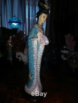 Large 13Antique Chinese Bronze Cloisonne Figure Figurine Woman Maiden Quan Yin